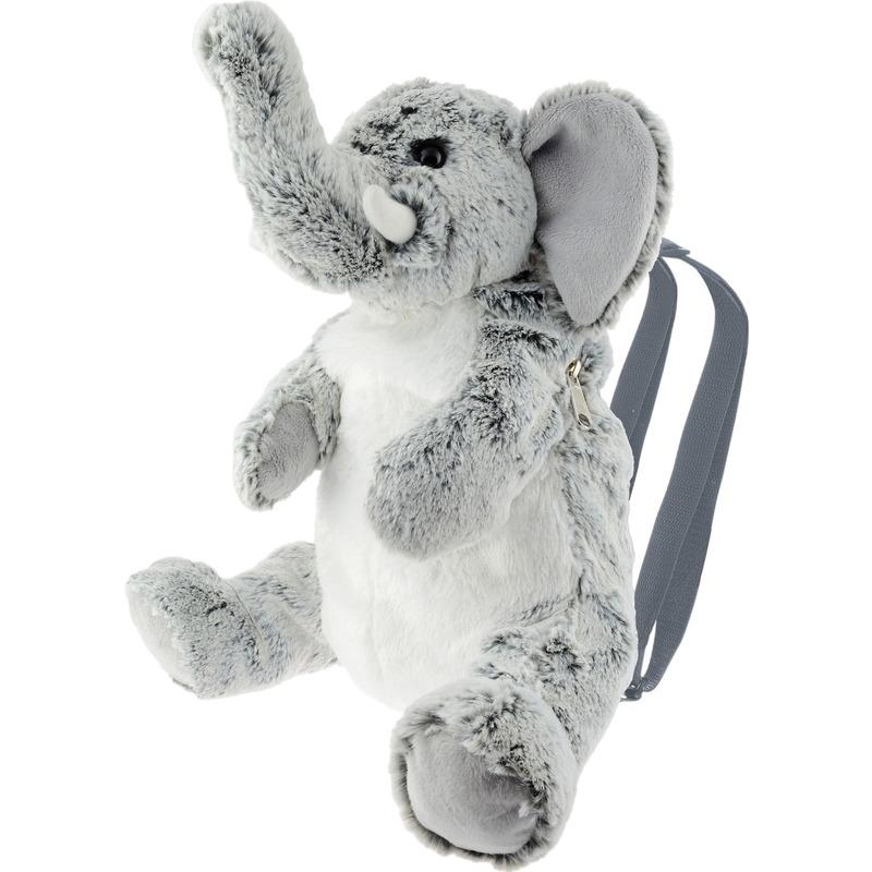 Grijze olifant rugzak-rugtas knuffels 32 cm knuffeldieren