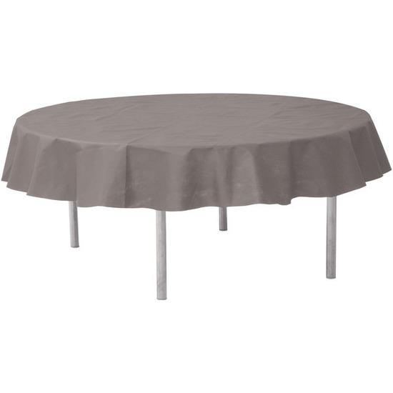 Grijze ronde tafelkleden-tafellakens 240 cm van stof