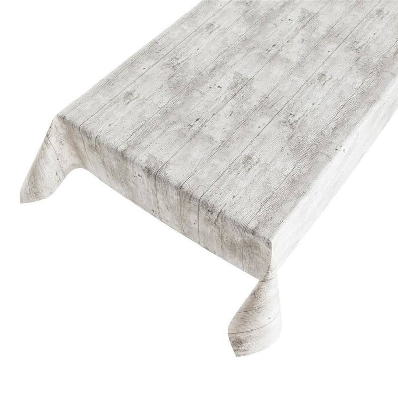 Grijze tafelkleden-tafelzeilen steigerhout print 140 x 170 cm rechthoekig