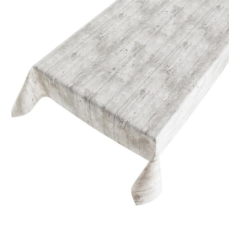 Grijze tafelkleden-tafelzeilen steigerhout print 140 x 245 cm rechthoekig