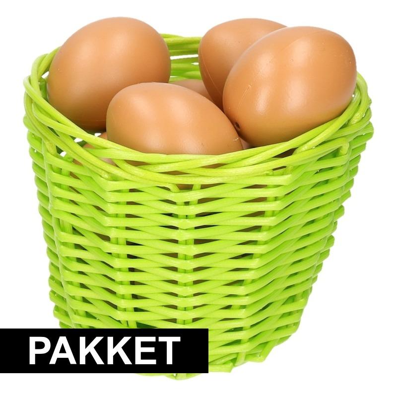 Groen paaseieren mandje met bruine eieren