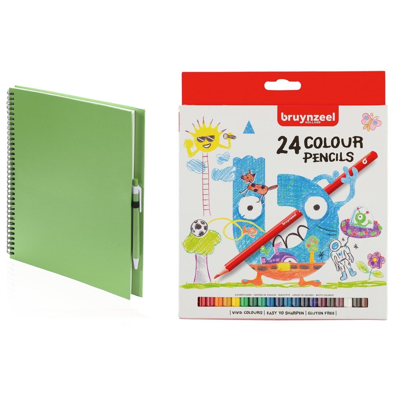 Groen schetsboek-tekenboek met 24 kleurpotloden