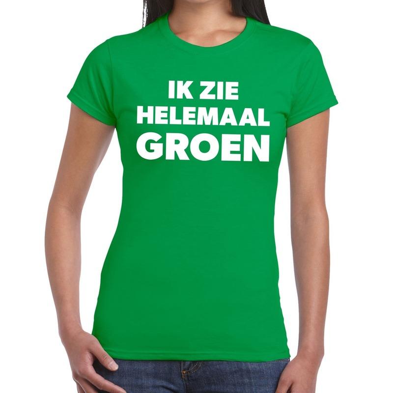 Groen tekst t-shirt ik zie helemaal groen dames