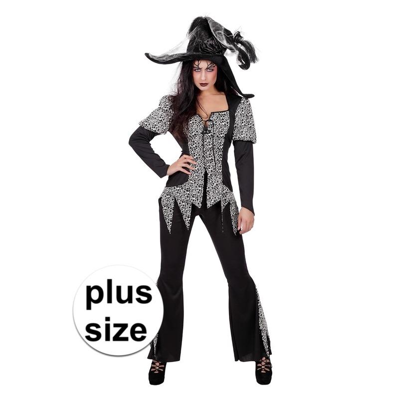 Grote maat zwart-wit halloween gothic kostuum voor dames