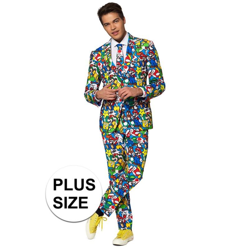 Grote maten heren verkleedkostuum Super Mario business suit
