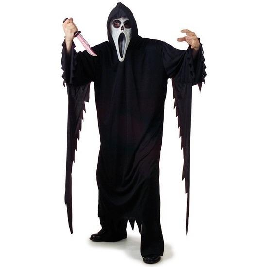 Halloween-horror zwart Scream-Scary Movie kostuum voor dames-heren-volwassenen