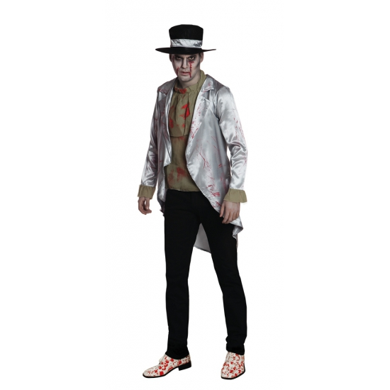 Halloween zombie bruidegom kostuum voor heren