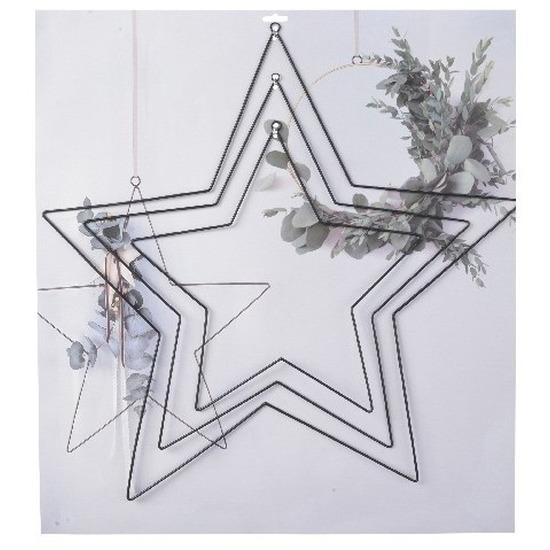 Hobby materialen 3 stuks metalen ophang ringen in stervorm zwart