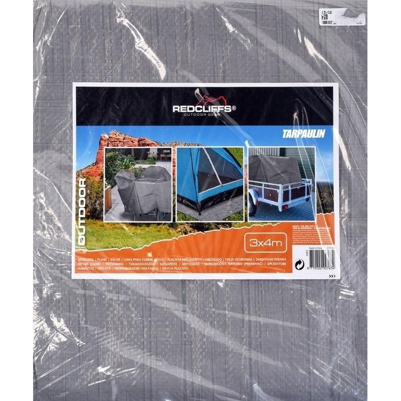 Hoge kwaliteit afdekzeil-dekzeil grijs 3 x 4 meter