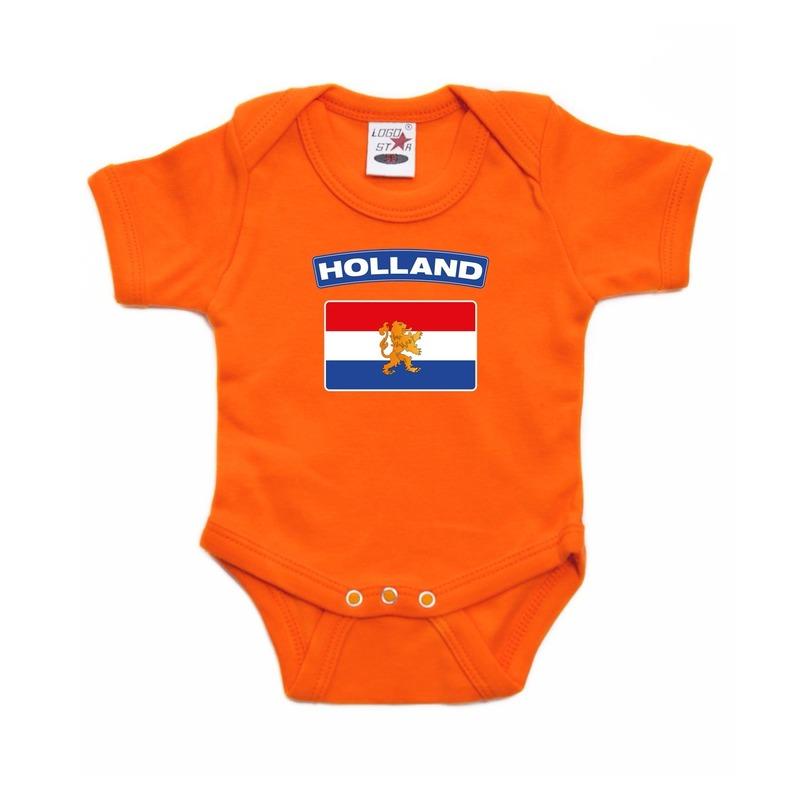 Oranje rompertje met hollandse vlag voor baby's. op dit rompertje staat de vlag van nederland. dit oranje ...