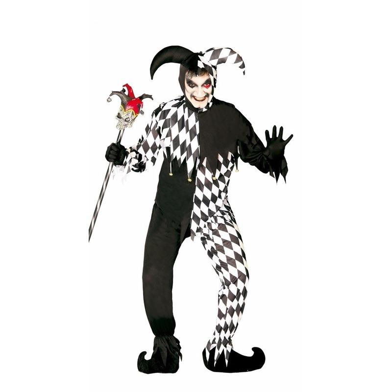 Horror clown Joker kostuum zwart-wit
