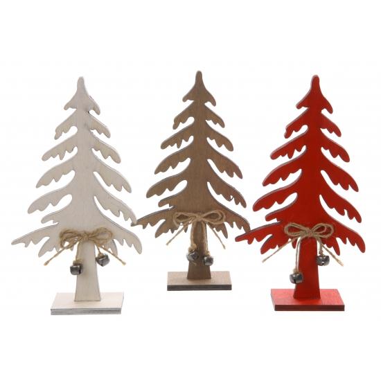 Houten decoratie kerstboom wit 25 cm
