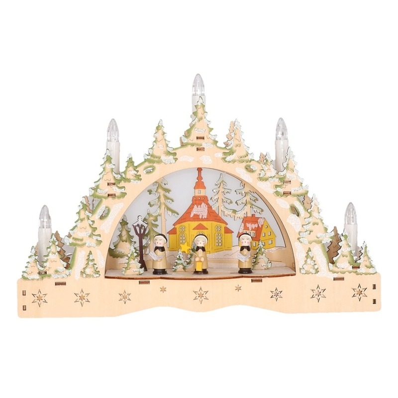 Houten kaarsenbrug met kerk 35 cm