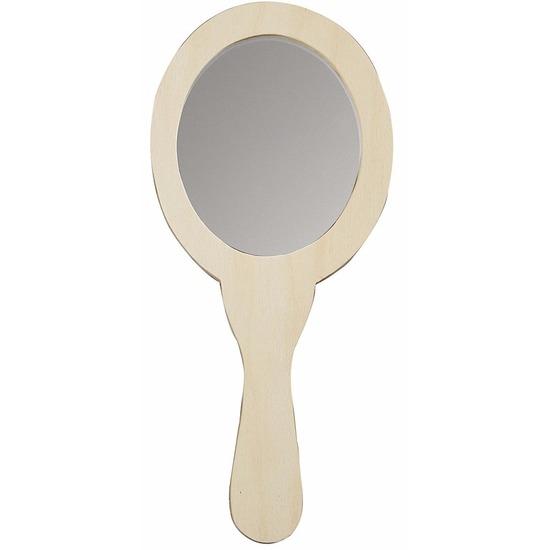 Houten ovaalvormige spiegels 24 cm