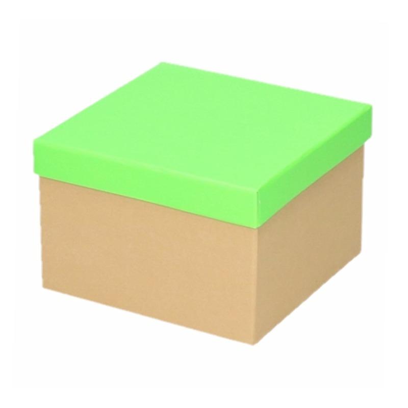 Kado doosjes naturel/neon groen 15 cm rechthoek
