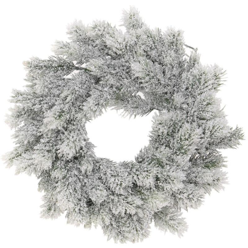 Kerst decoratie groene kerstkrans 35 cm met sneeuw