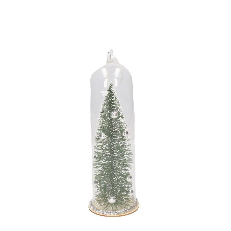 Kerst hangdecoratie glazen stolp met groen-zilveren kerstboom 22 cm