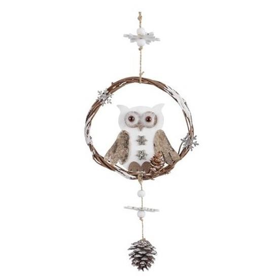 Kerst hangdecoratie houten uiltje 32 cm deurhanger-kerstkrans-raamdecoratie