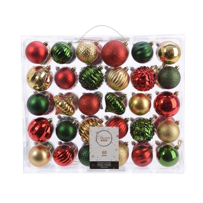 Kerst kerstballen mix 60 delig dennen groen- rood- goud