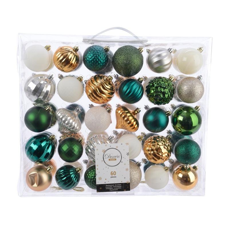 Kerst kerstballen mix 60 delig groen- goud- zilver en wit
