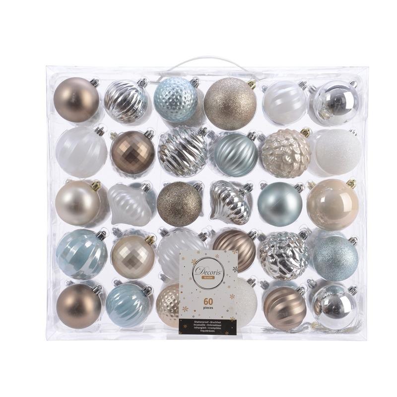 Kerst kerstballen mix 60 delig zilver- champagne -bruin en blauw