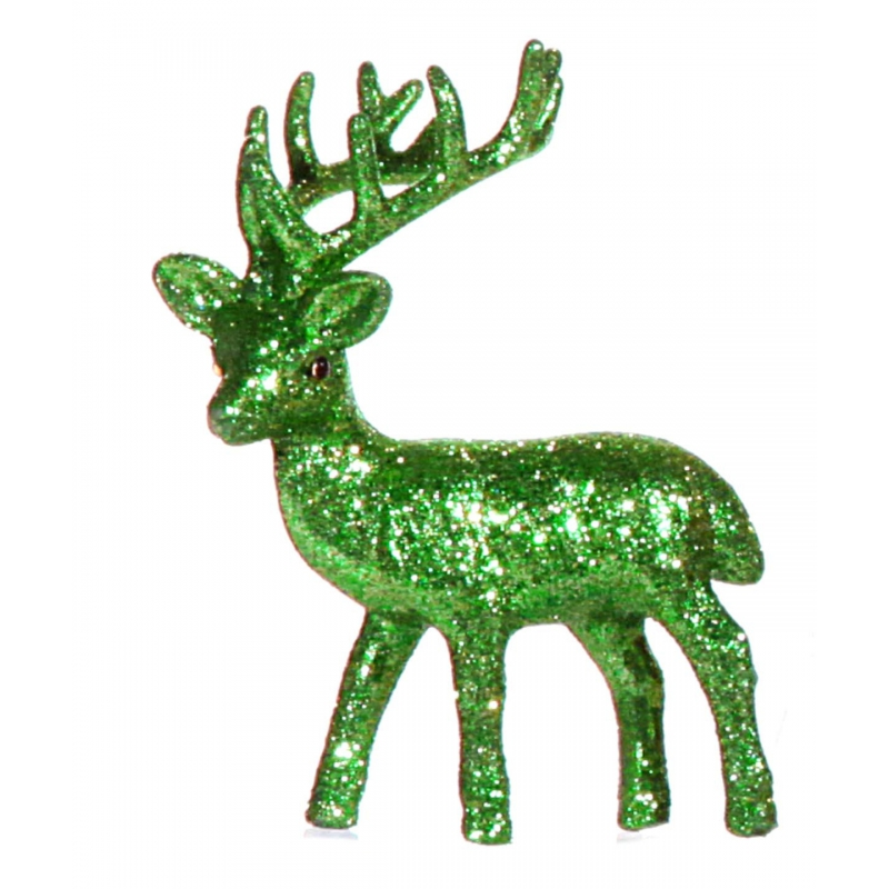 Kerst rendier groen met glitters 10 cm