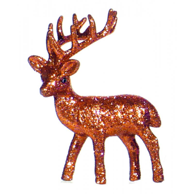 Kerst rendier oranje met glitters 10 cm