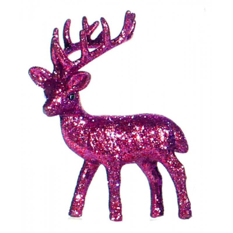 Kerst rendier roze met glitters 10 cm