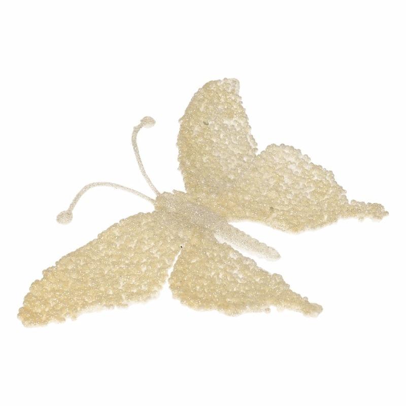 Kerstboom decoratie vlinder creme