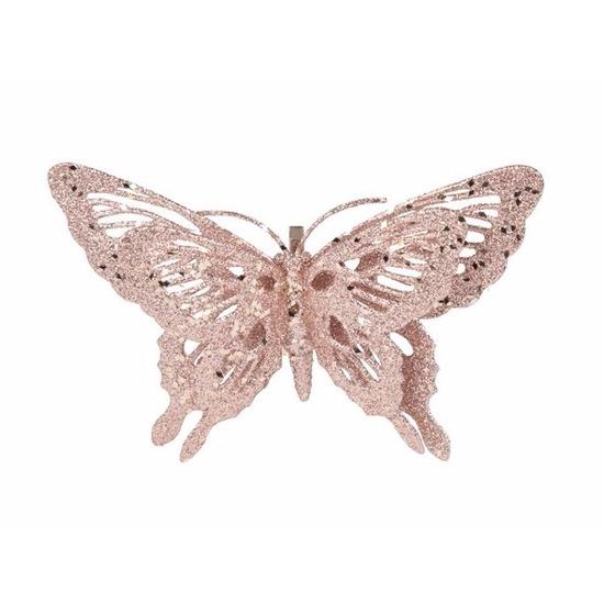 Kerstboom decoratie vlinder roze 15 cm