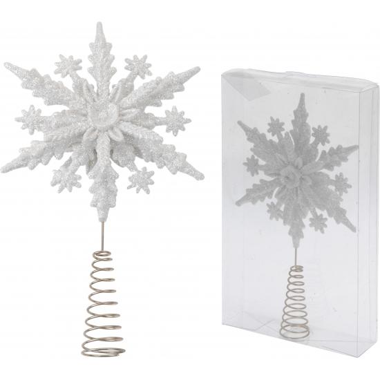 Kerstboom piek witte sneeuwvlok