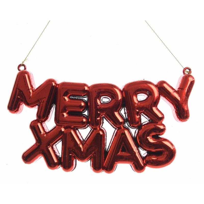 Kerstboomdecoratie hanger rode tekst Merry Xmas 20 cm