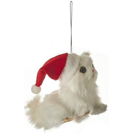 Kerstboomversiering ornament witte poes/kat 12 cm