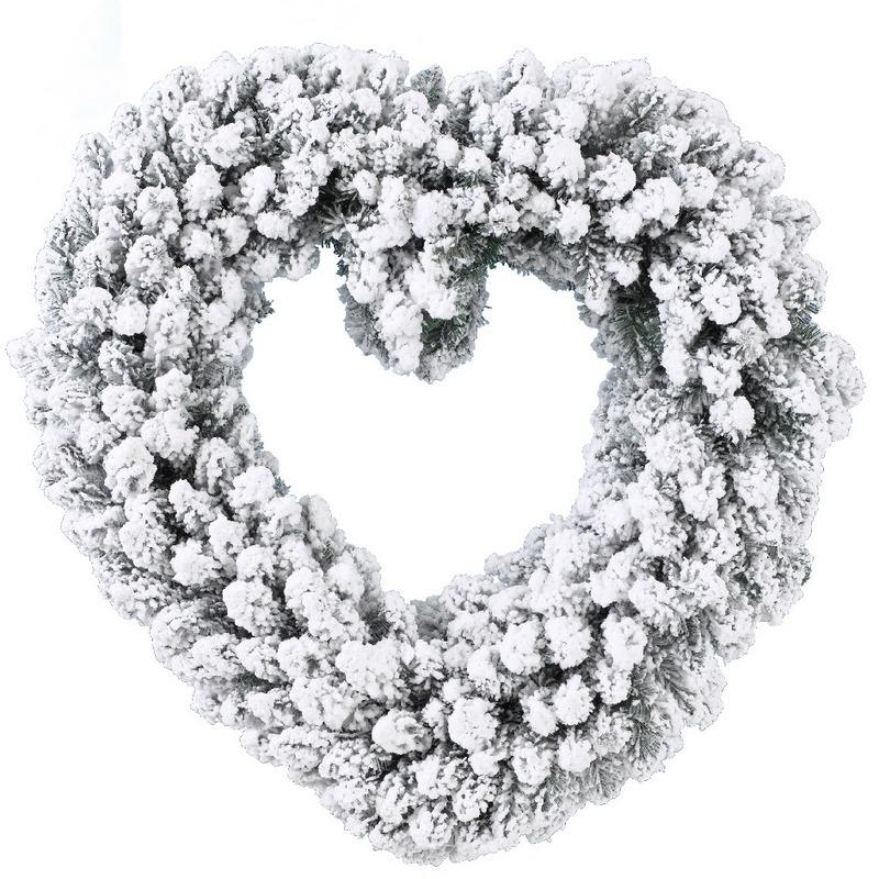 Kerstdecoratie kerstkrans hart met nepsneeuw 50 cm