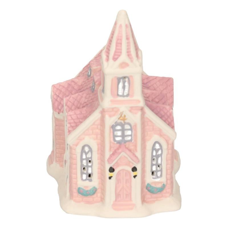 Kerstdorp kersthuisje 10 cm kerkgebouw met verlichting