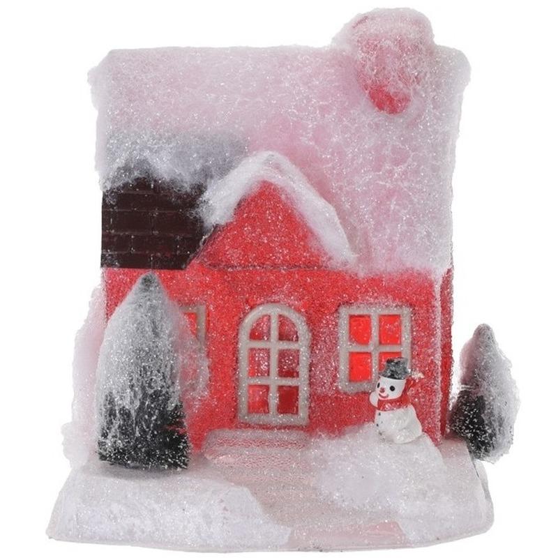 Kerstdorp kersthuisje 18 cm rood type 1 met LED lampjes