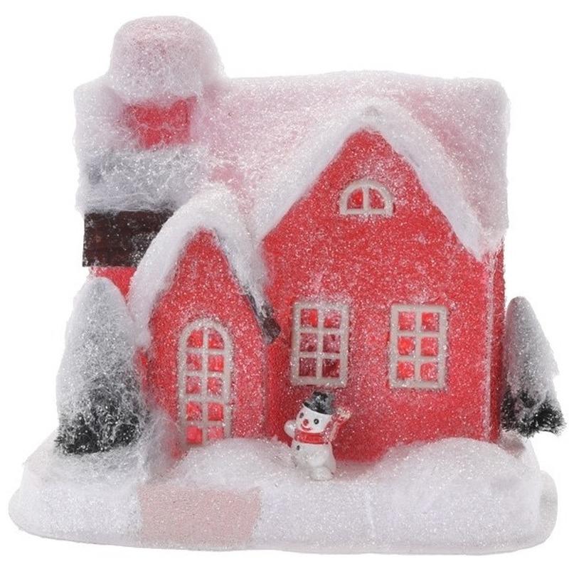 Kerstdorp kersthuisje 18 cm rood type 2 met LED lampjes