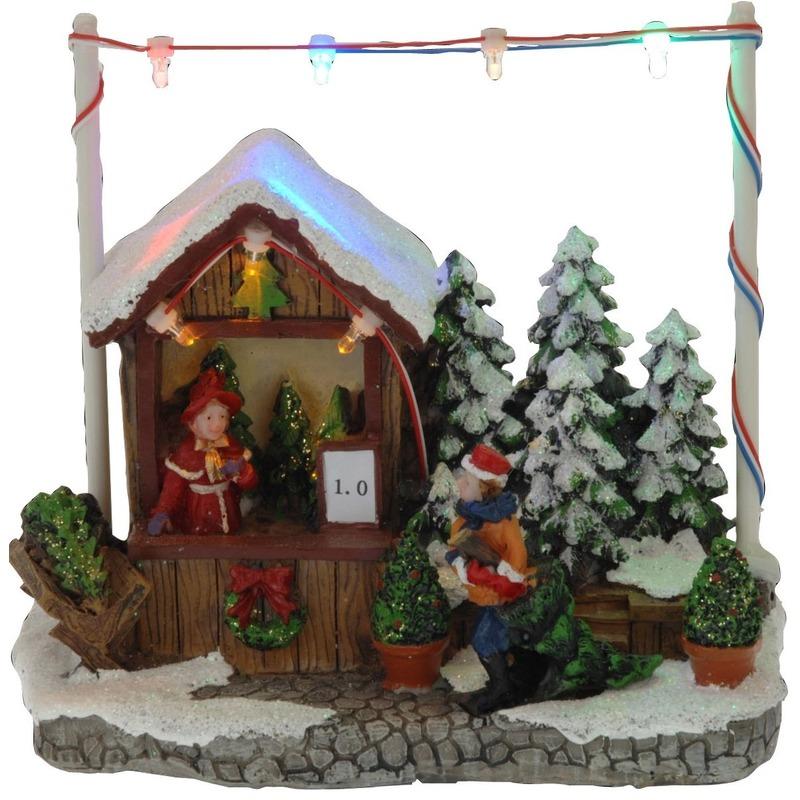 Kerstdorp kersthuisje kerstboom winkel-kraam 16 cm met LED lampjes