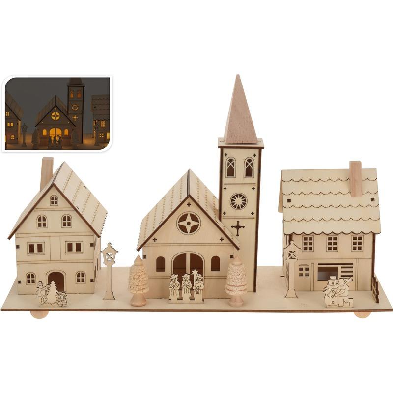 Kerstdorp kersthuisjes-kerk van hout 22 cm met LED lampjes