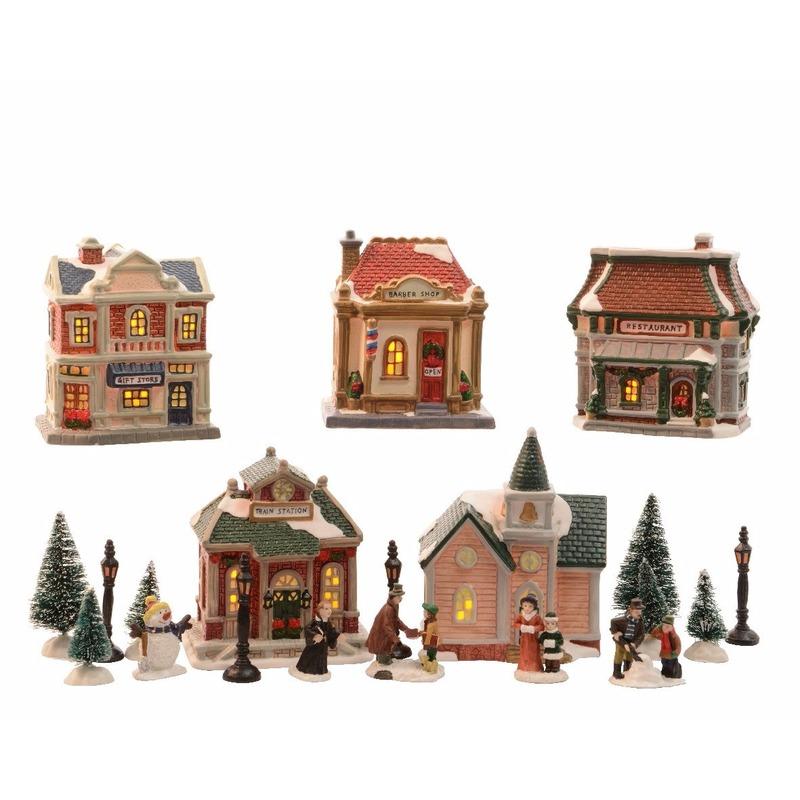 Kerstdorp maken huisjes/winkels met LED verlichting 45 cm