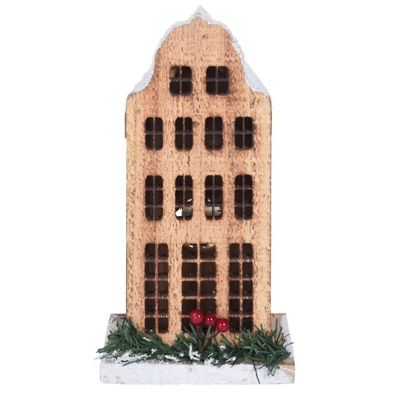 Kerstdorp maken kersthuisjes grachtenpand klokgevel 21 cm met LED lampjes