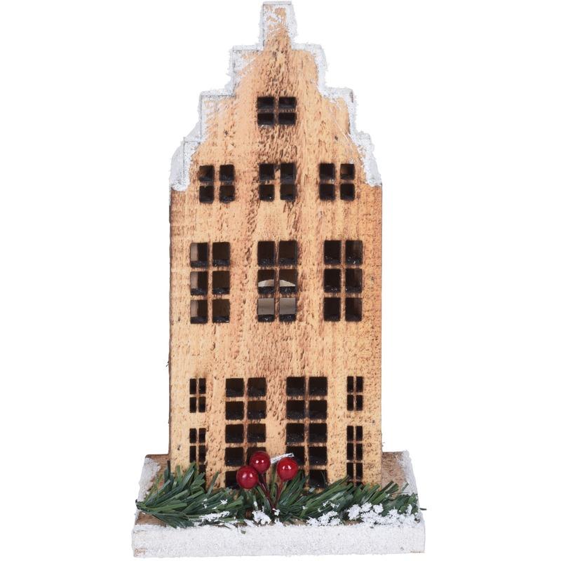 Kerstdorp maken kersthuisjes grachtenpand trapgevel 21 cm met LED lampjes