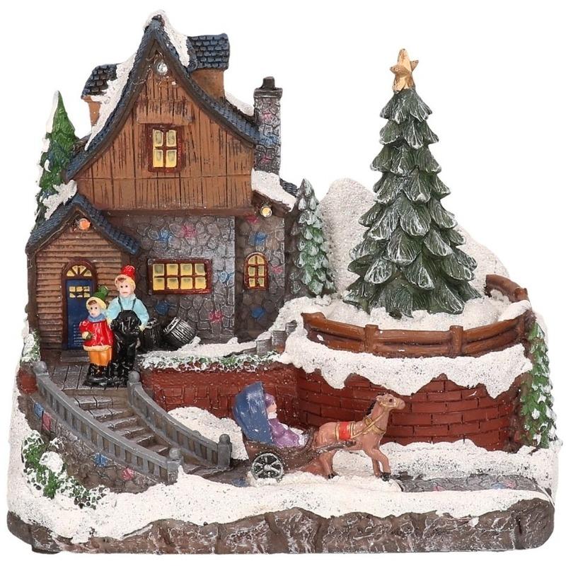 Kerstdorp maken kersthuisjes met paardje 16 cm met LED lampjes