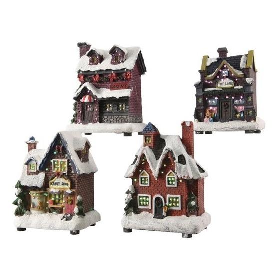 Kerstdorp maken kersthuisjes snoepwinkel 12 cm met LED lampjes