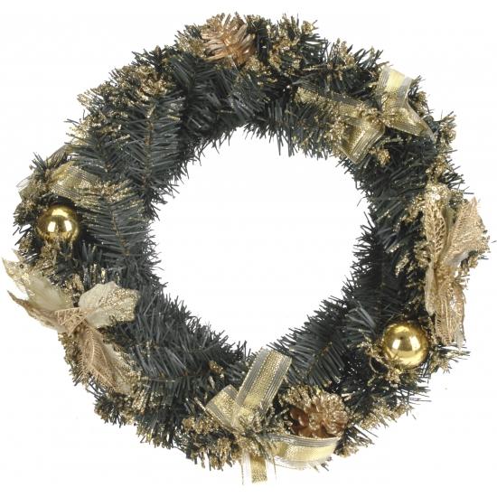 Kerstkrans met decoratie goud 40 cm