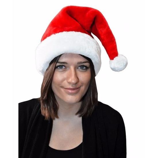 Kerstmuts rood met bont voor volwassenen