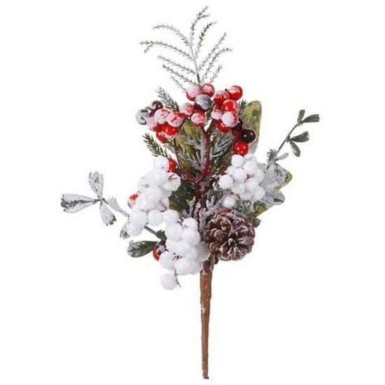 Kerststukje instekertjes met bessen en sneeuw 20 cm