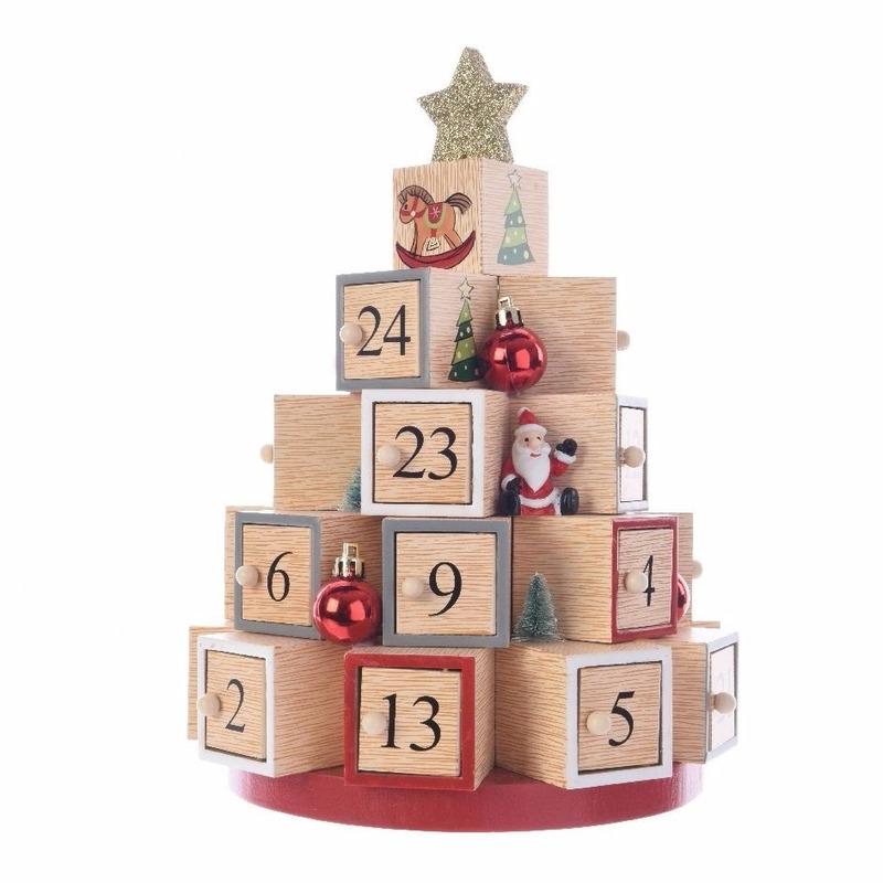 Kerst adventskalender kerstboom van mdf 28 cm. houten adventskalender in de vorm van een kerstboom. de ...