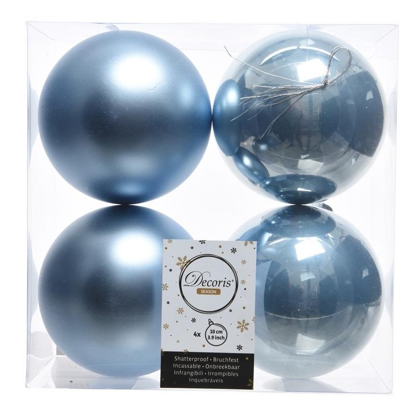 Kerstversiering kerstballen 8x ijsblauw kunststof 10 cm