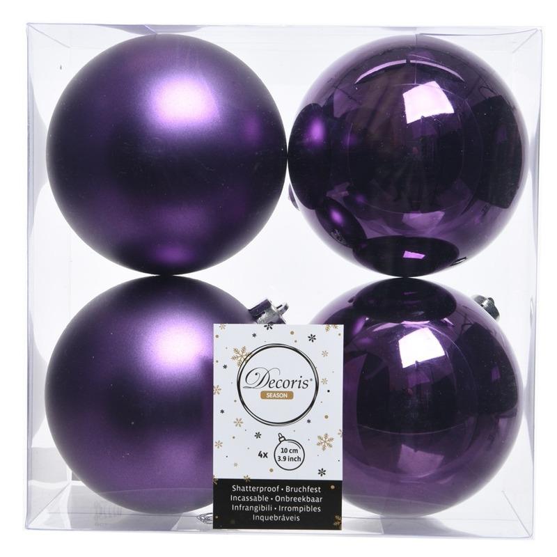 Kerstversiering kerstballen paars kunststof 10 cm